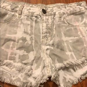 Camo short short distressed looking
